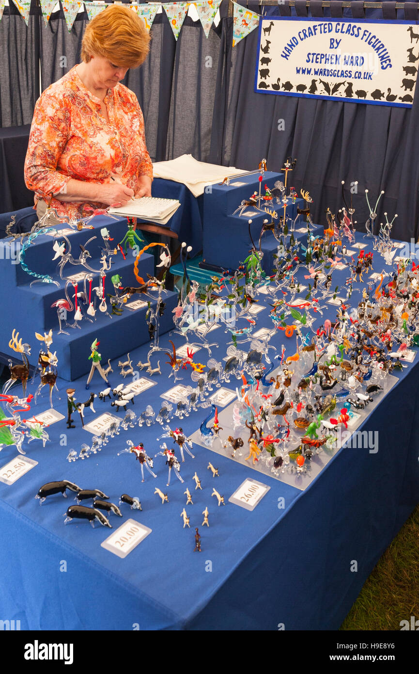 Hand Crafted Glass Figurines at the Royal Norfolk Show in the Showground , Norwich , Norfolk , England , Britain - Stock Image