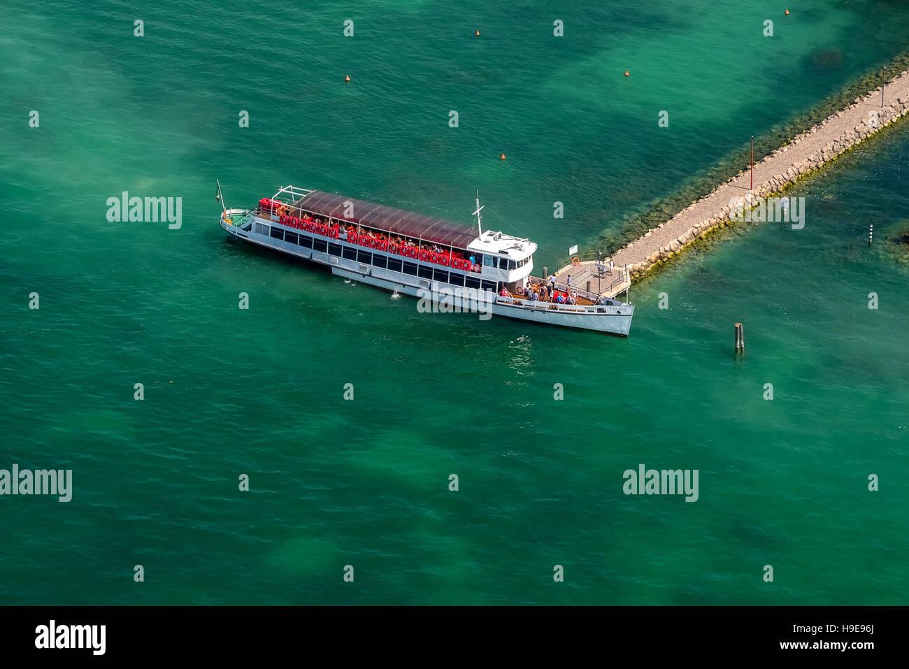 Aerial photo, passenger ship, excursion steamers TRENTO at the feeder of Bardolino, Garda lake, Lago di Garda, Bardolino, - Stock Image