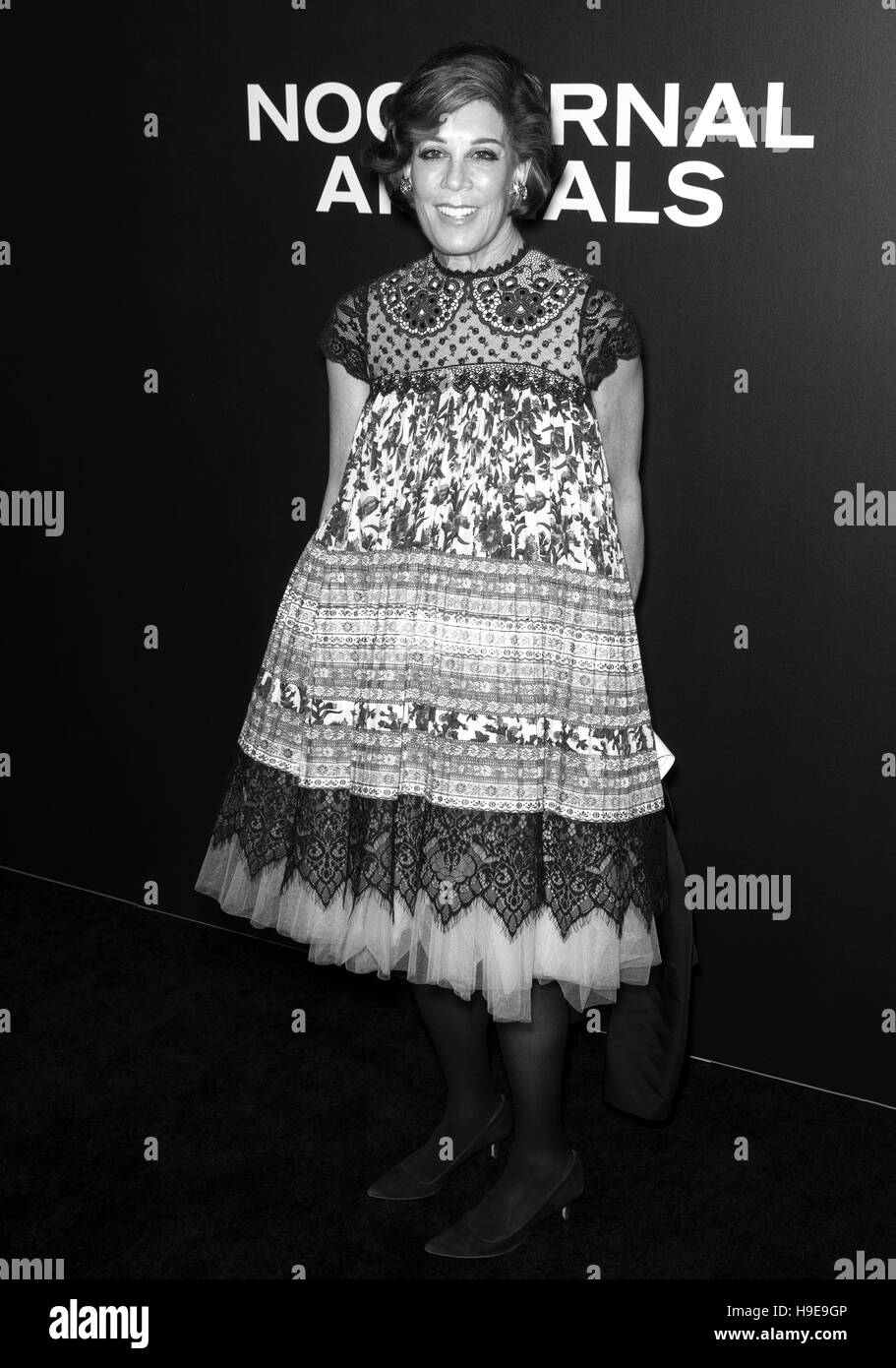New York City, USA - November 17, 2016: Publicist Peggy Siegal attends the 'Nocturnal Animals' New York premiere Stock Photo