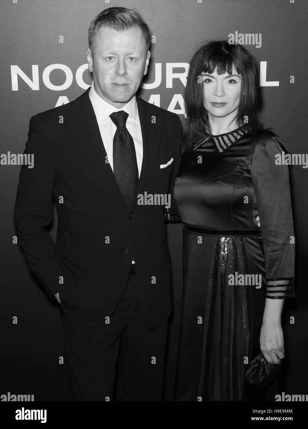 New York City, USA - November 17, 2016: Composer Abel Korzeniowski and Mina Korzeniowska attend the 'Nocturnal - Stock Image
