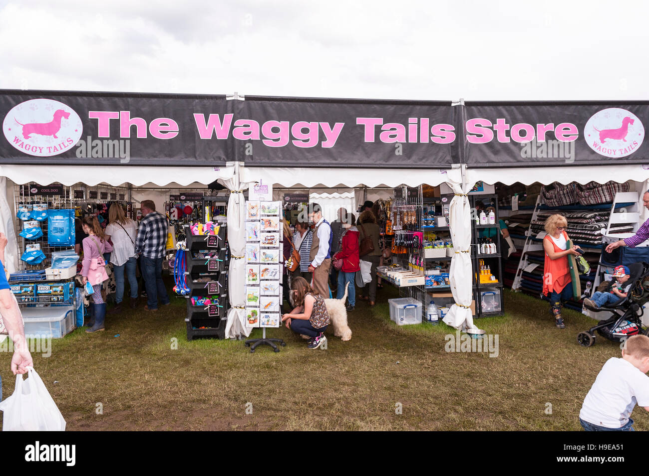 The Waggy Tails store at the Royal Norfolk Show in the Showground , Norwich , Norfolk , England , Britain , Uk - Stock Image