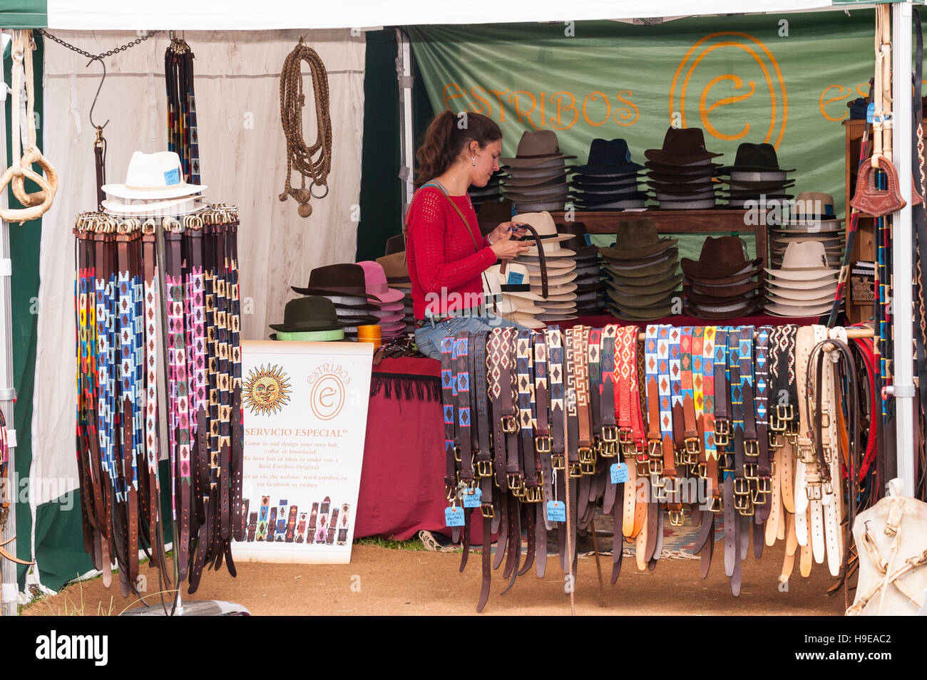Belts and Hats for sale at the Royal Norfolk Show in the Showground , Norwich , Norfolk , England , Britain , Uk - Stock Image