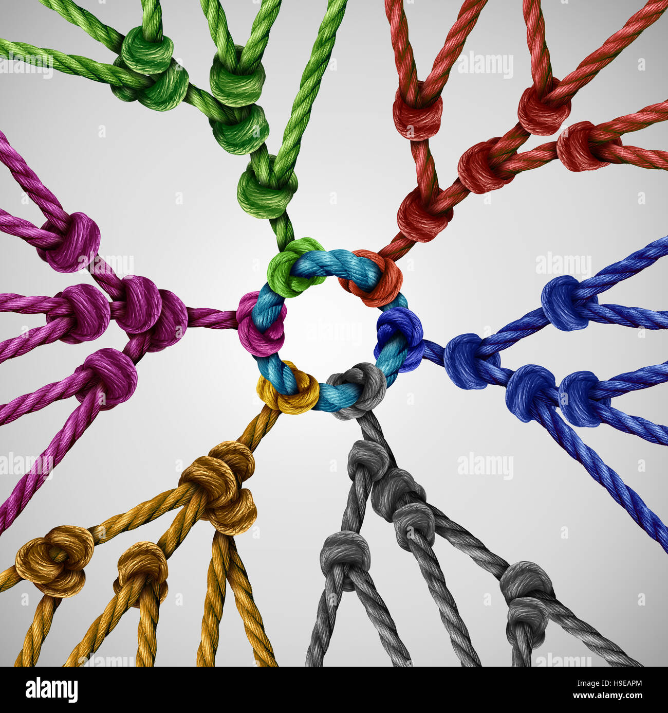 Team groups network as individual diverse teams coming together connected to a central point as an abstract communication - Stock Image