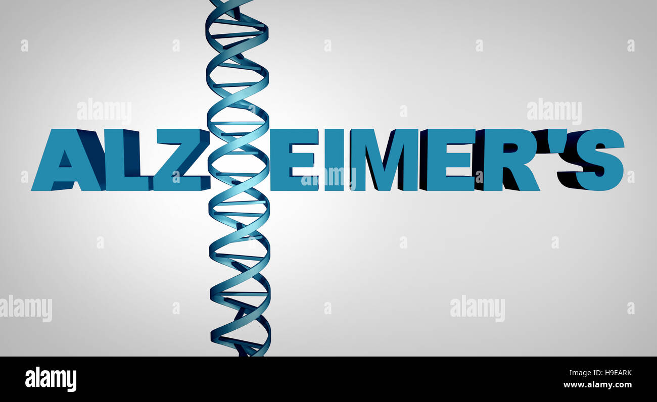 Alzheimer and alzheimer's disease genetics as text with a dna double helix strand as a dementia mental health - Stock Image