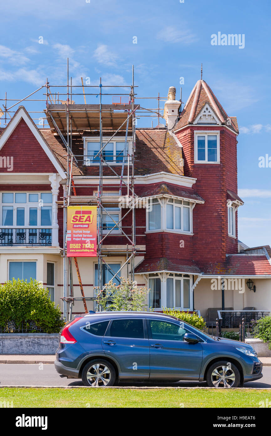 Scaffolding erected on a house  in Southwold , Suffolk , England , Britain , Uk - Stock Image