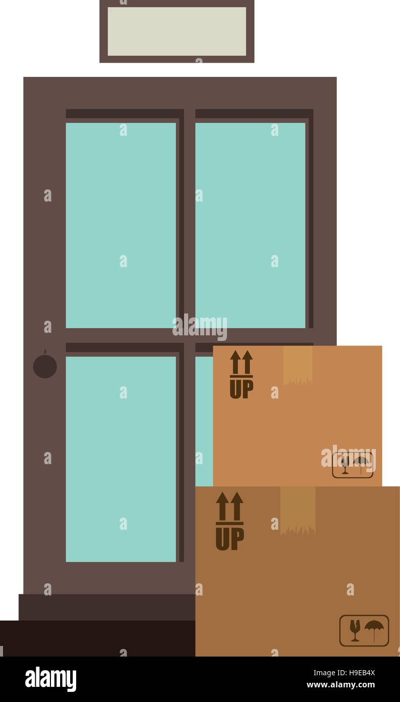 office logistic with carton boxes set - Stock Vector