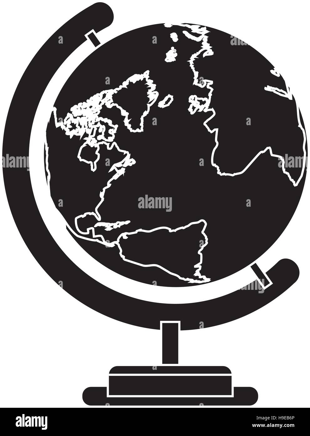 silhouete sphere world map with base - Stock Image