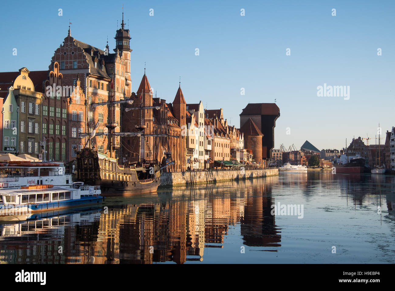 Morning light shines on the Old Town in Gdansk, Poland - Stock Image
