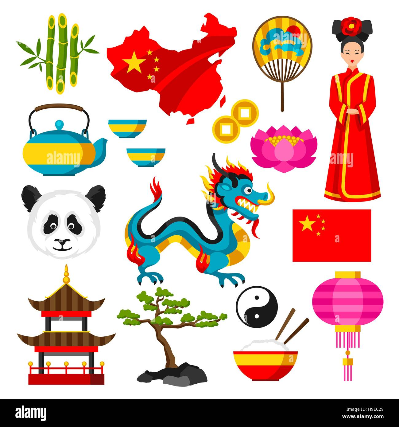 China Icons Set Chinese Symbols And Objects Stock Vector Art