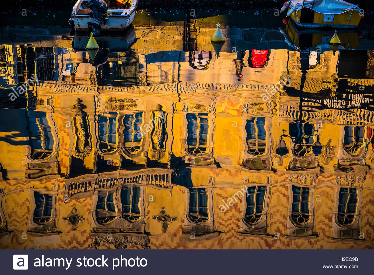 Friuli Trieste, reflexion on Ponte Rosso channel - Stock Image