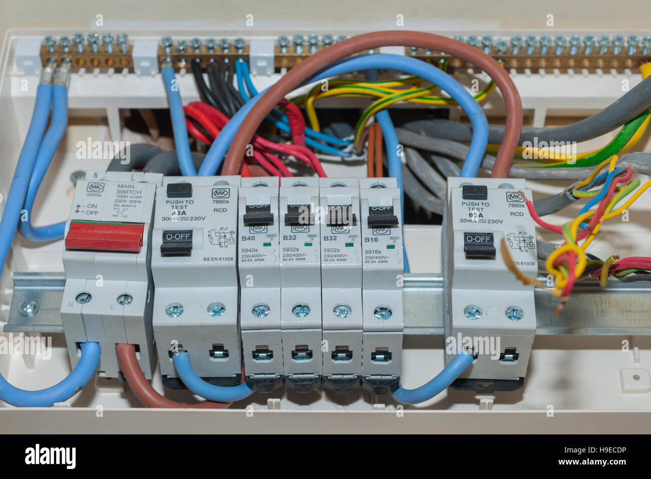 A RCD fuse box in the Uk