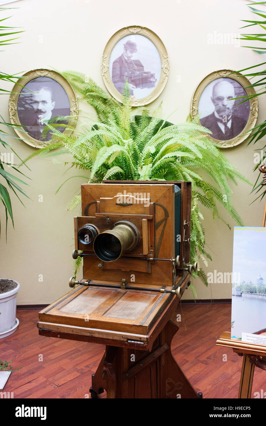 In the studio of Karl Bulla and sons, famous early photographers in Russia. - Stock Image