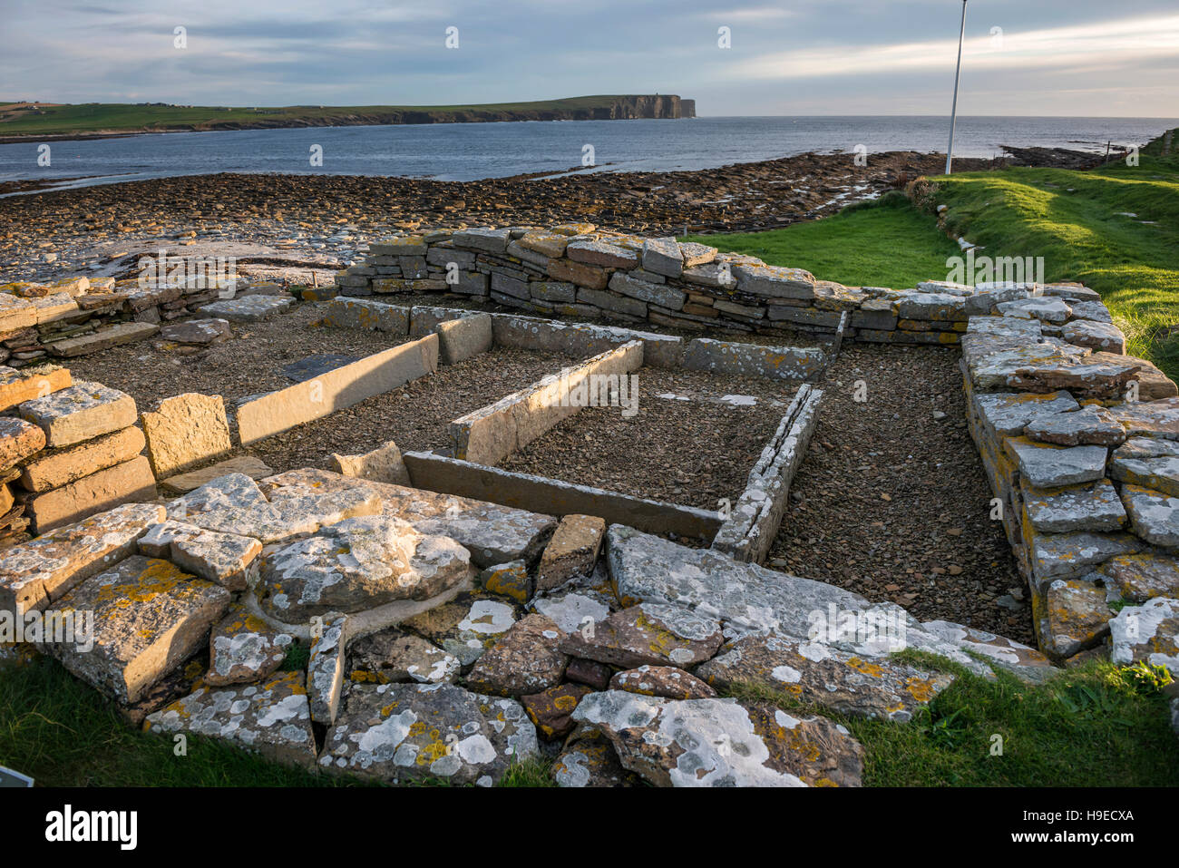 Pictish and Norse settlement remains on The Brough of Birsay, a tidal island off NW Mainland Orkney, Scotland, UK Stock Photo