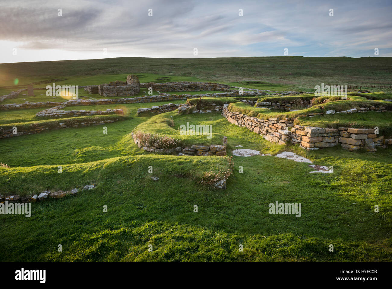 Pictish and Norse settlement remains on The Brough of Birsay, a tidal island off NW Mainland Orkney, Scotland, UK - Stock Image