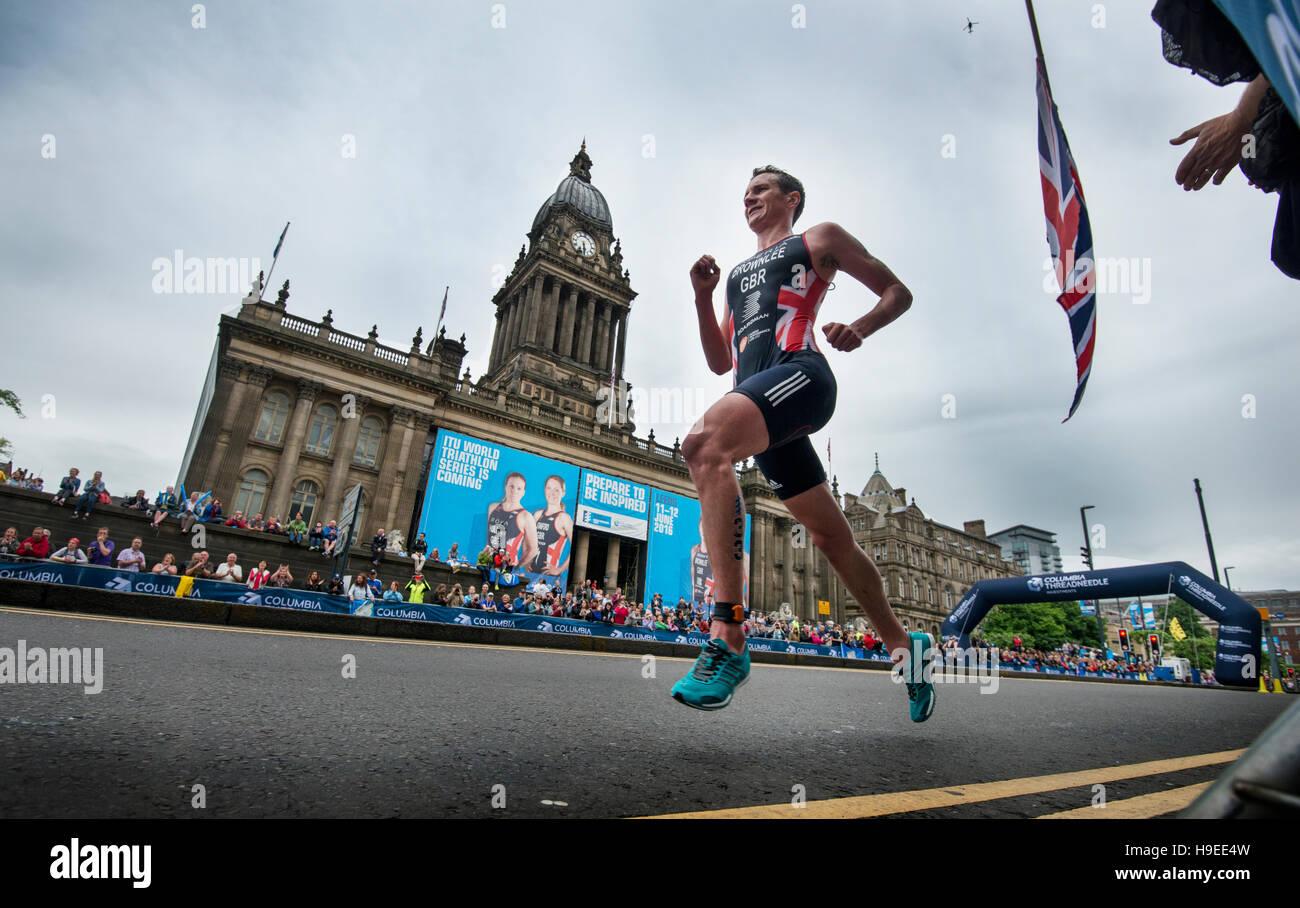Alistair Brownlee in ITU Leeds Triathlon. - Stock Image