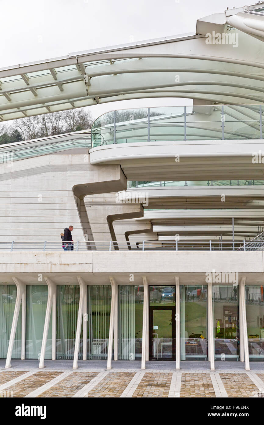 LIEGE, BELGIUM - December 2014: Travellers walking on Level 01 of the Liege-Guillemins railway station, designed - Stock Image