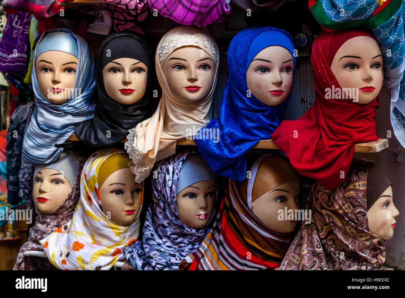 Colourful Hijabs For Sale In The Medina, Fez el Bali, Fez, Morocco - Stock Image