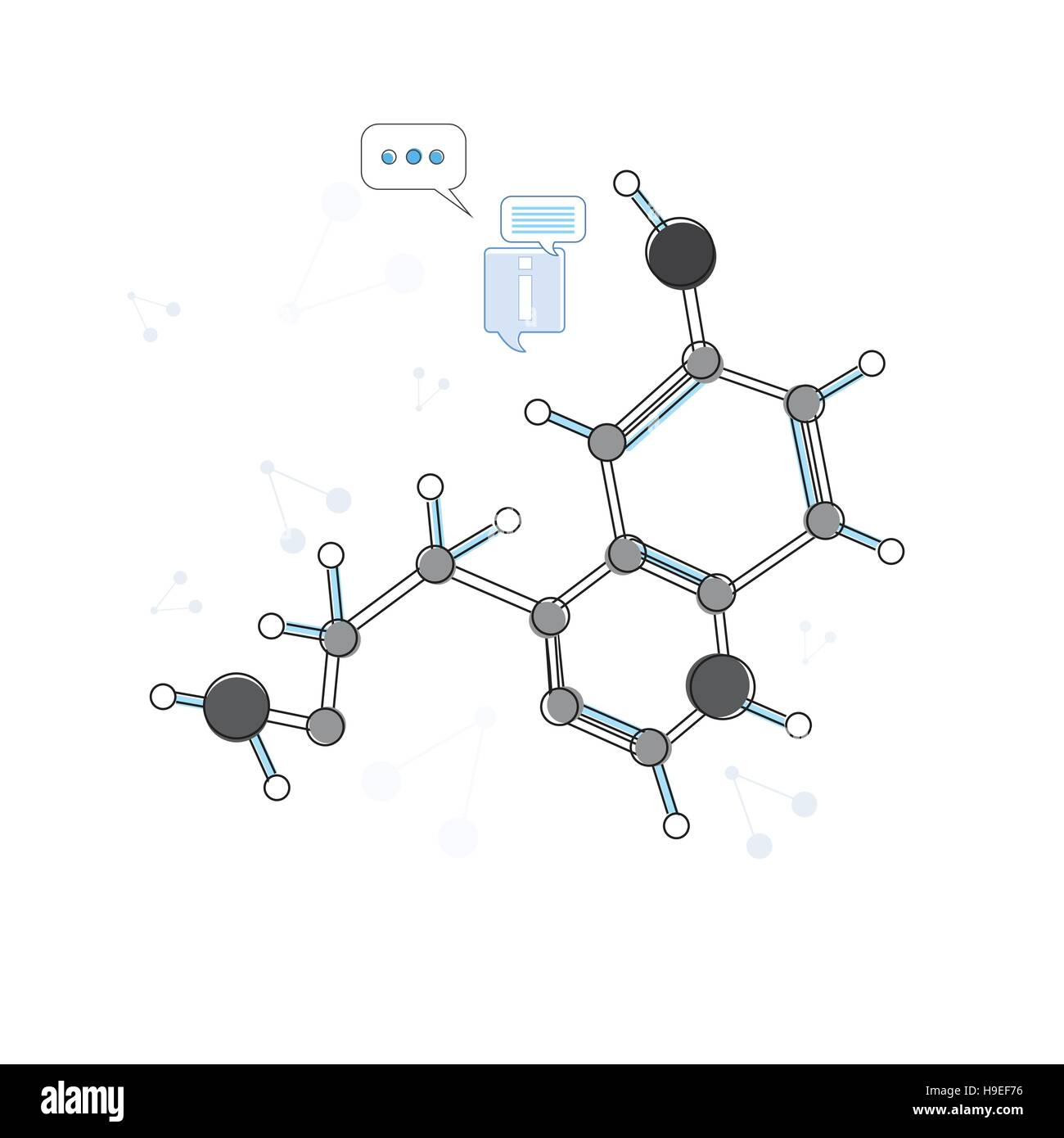 Molecular Chain Chemistry Logo Icon Thin Line Stock Vector