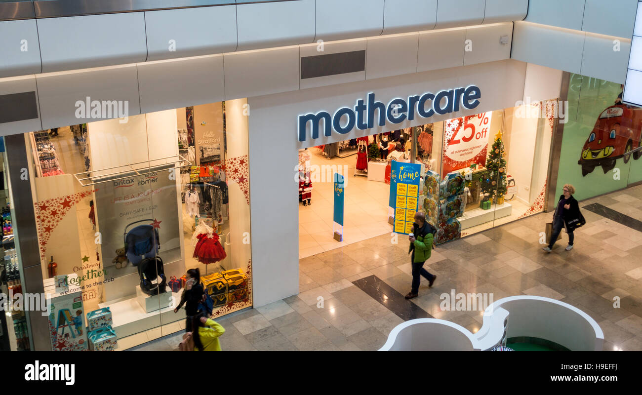 The Mothercare shop, or store in Westfield shopping centre, Stratford, East London, UK - Stock Image