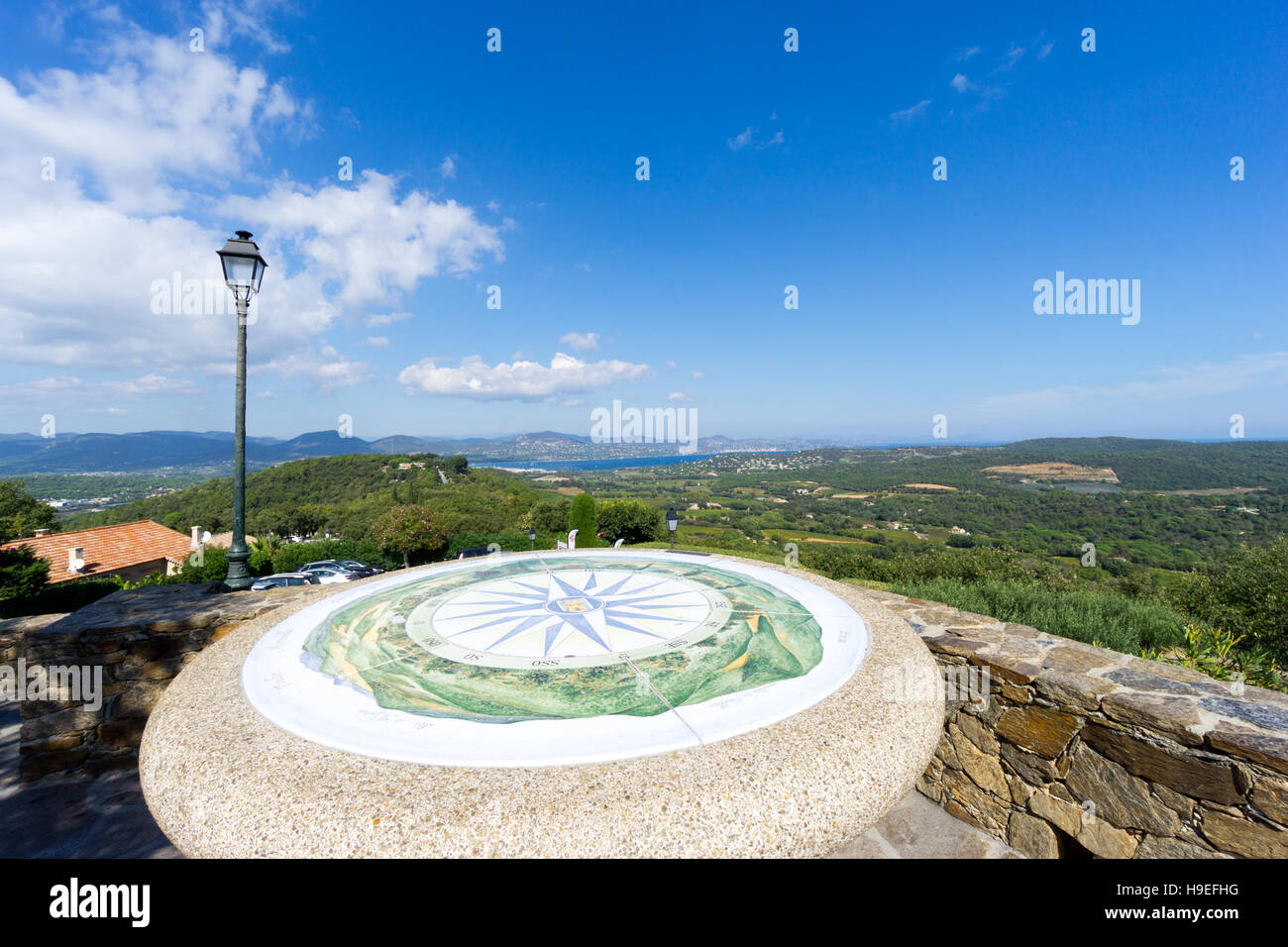 The orientation table in Gassin, Var, France. - Stock Image