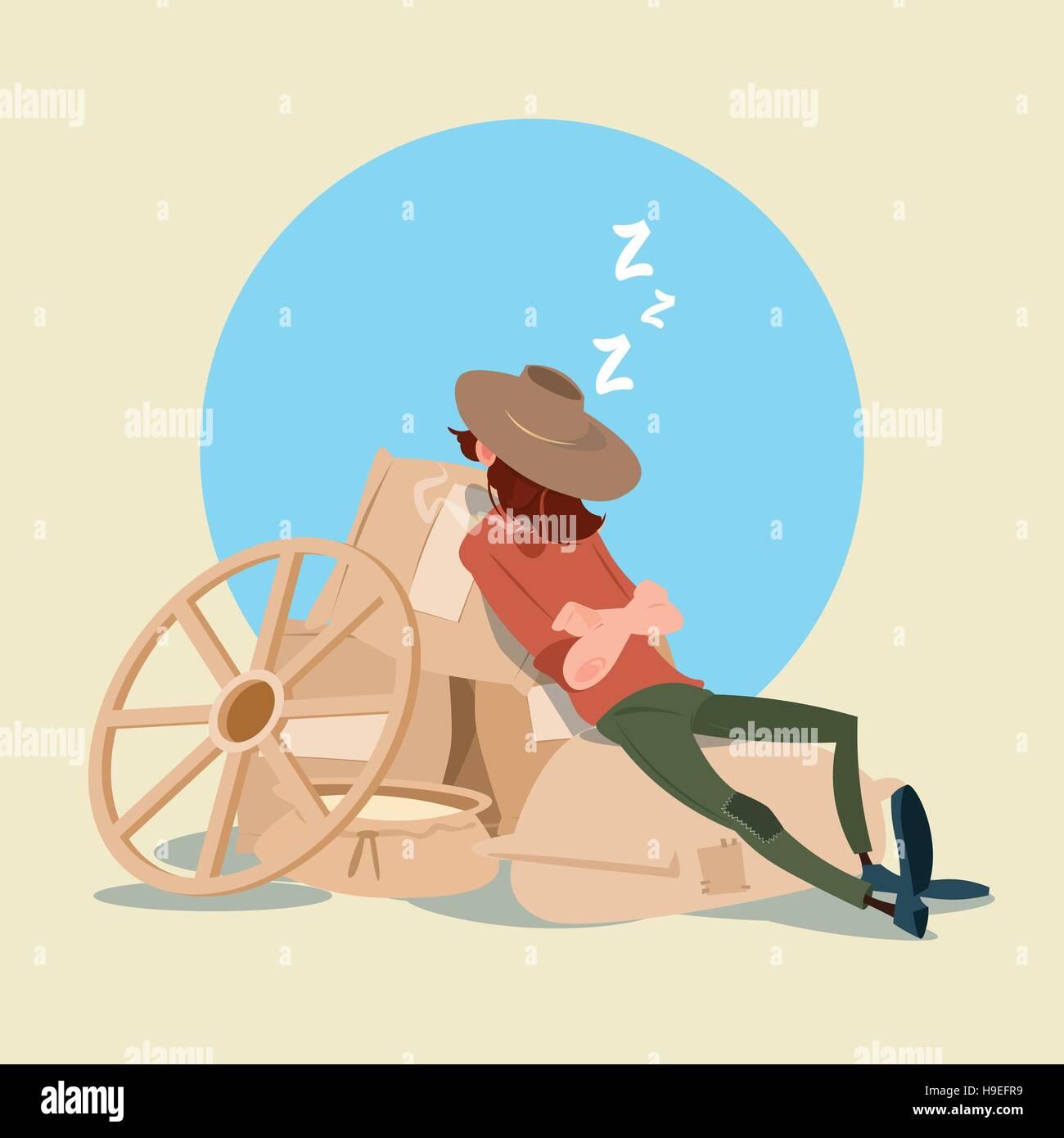 Farmer Countryman Sleeping On WHeat Sacks - Stock Vector