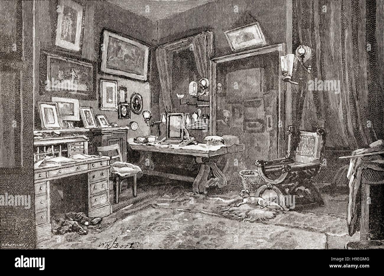 The dressing room of Sir Henry Irving, aka J. H. Irving 1838 – 1905, born John Henry Brodribb.  English stage actor - Stock Image