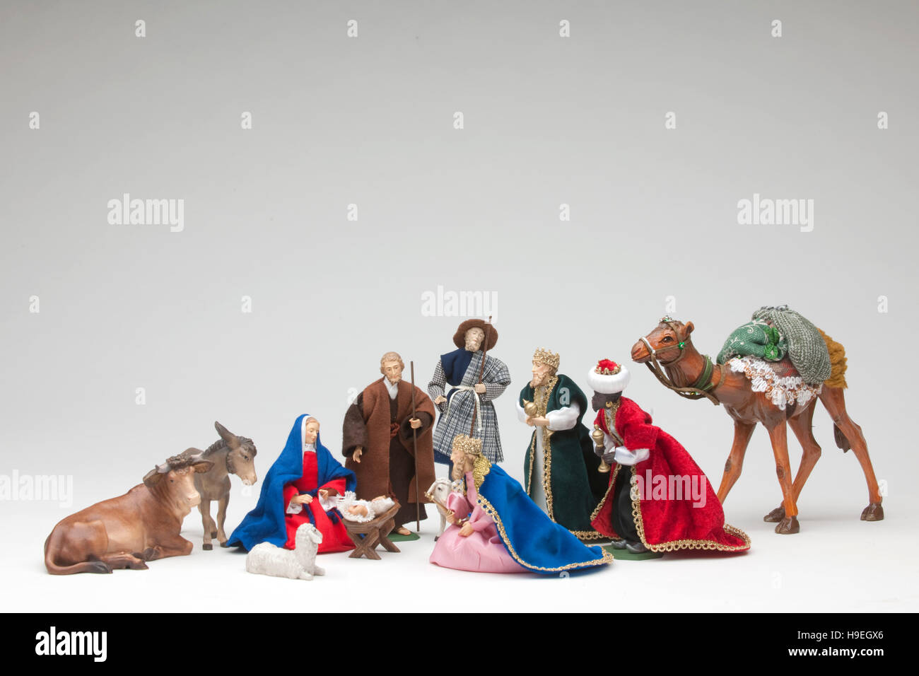 Krippenfiguren der Firma Lang aus Oberammergau - Stock Image