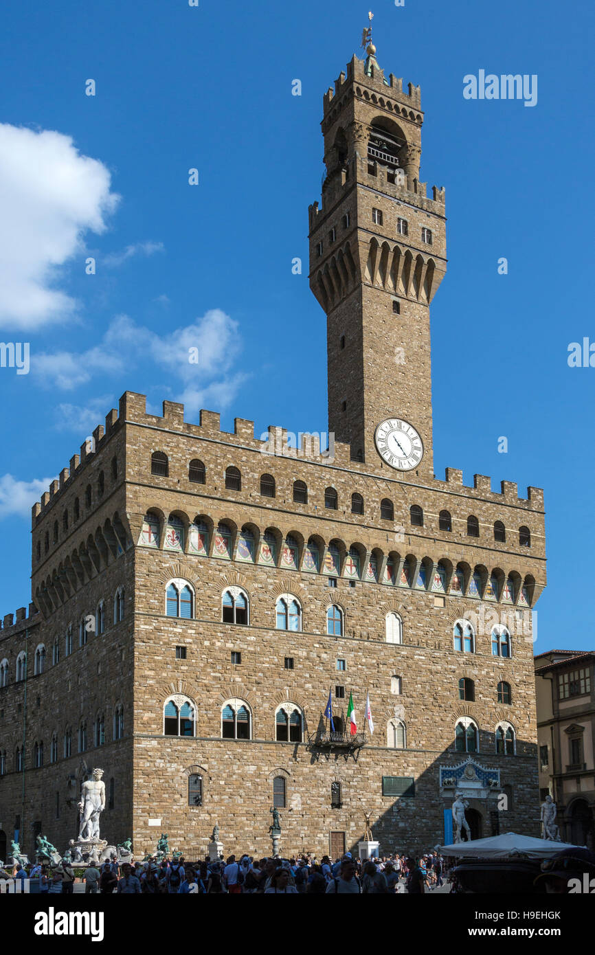The Palazzo Vecchio (Old Palace) is the town hall of the city of Florence, Italy. - Stock Image