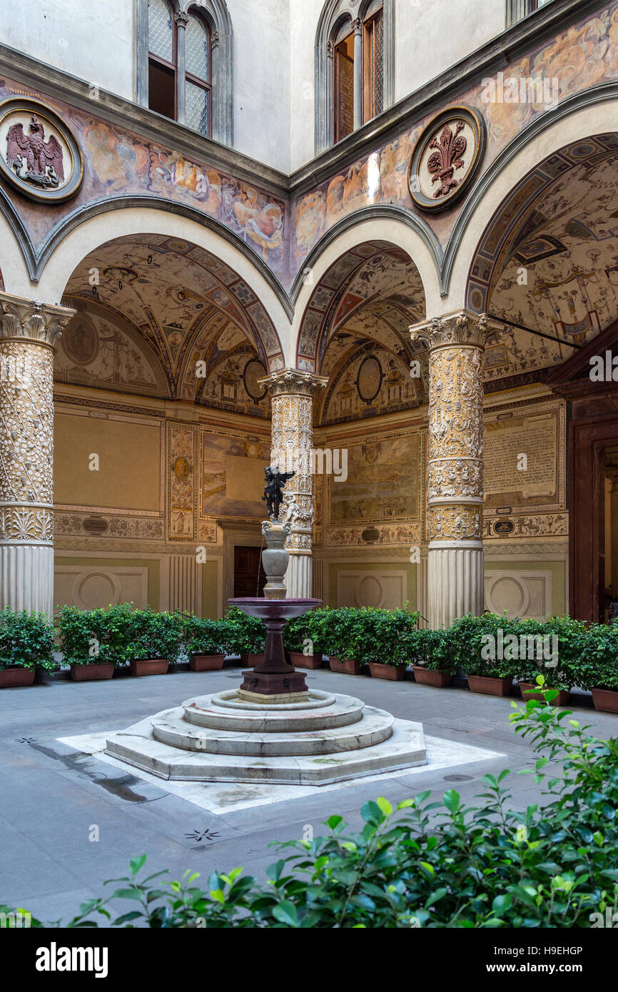 Interior courtyard in the Palazzo Vecchio (Old Palace) is the town hall of the city of Florence, Italy. - Stock Image