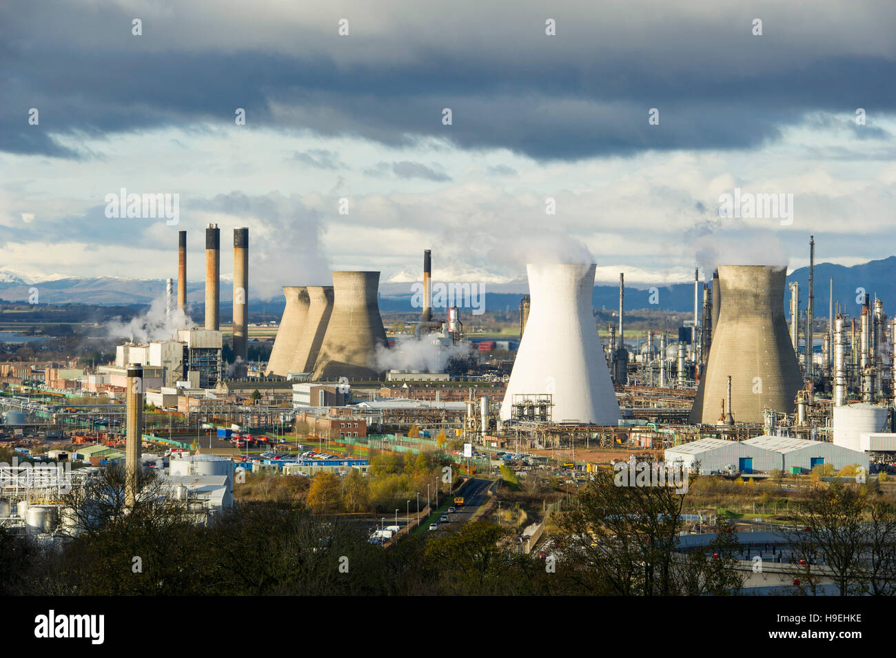 The Grangemouth oil refinery Scotland. Grangemouth Ineos is the largest manufacturing site by volume of products. - Stock Image
