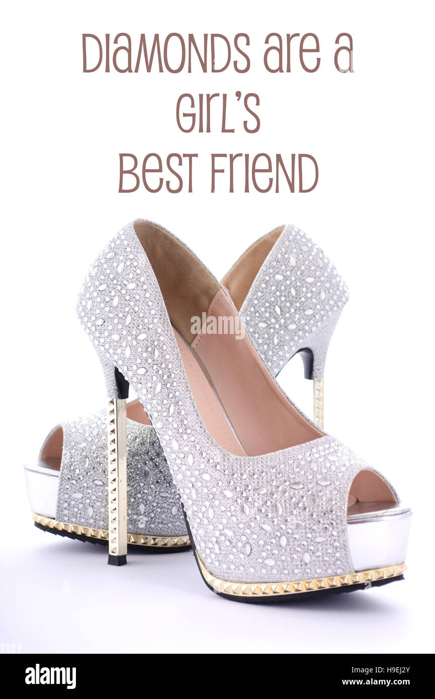 High heel rhinestone stiletto shoes with funny saying, Diamonds Are a Girls Best Friend. - Stock Image