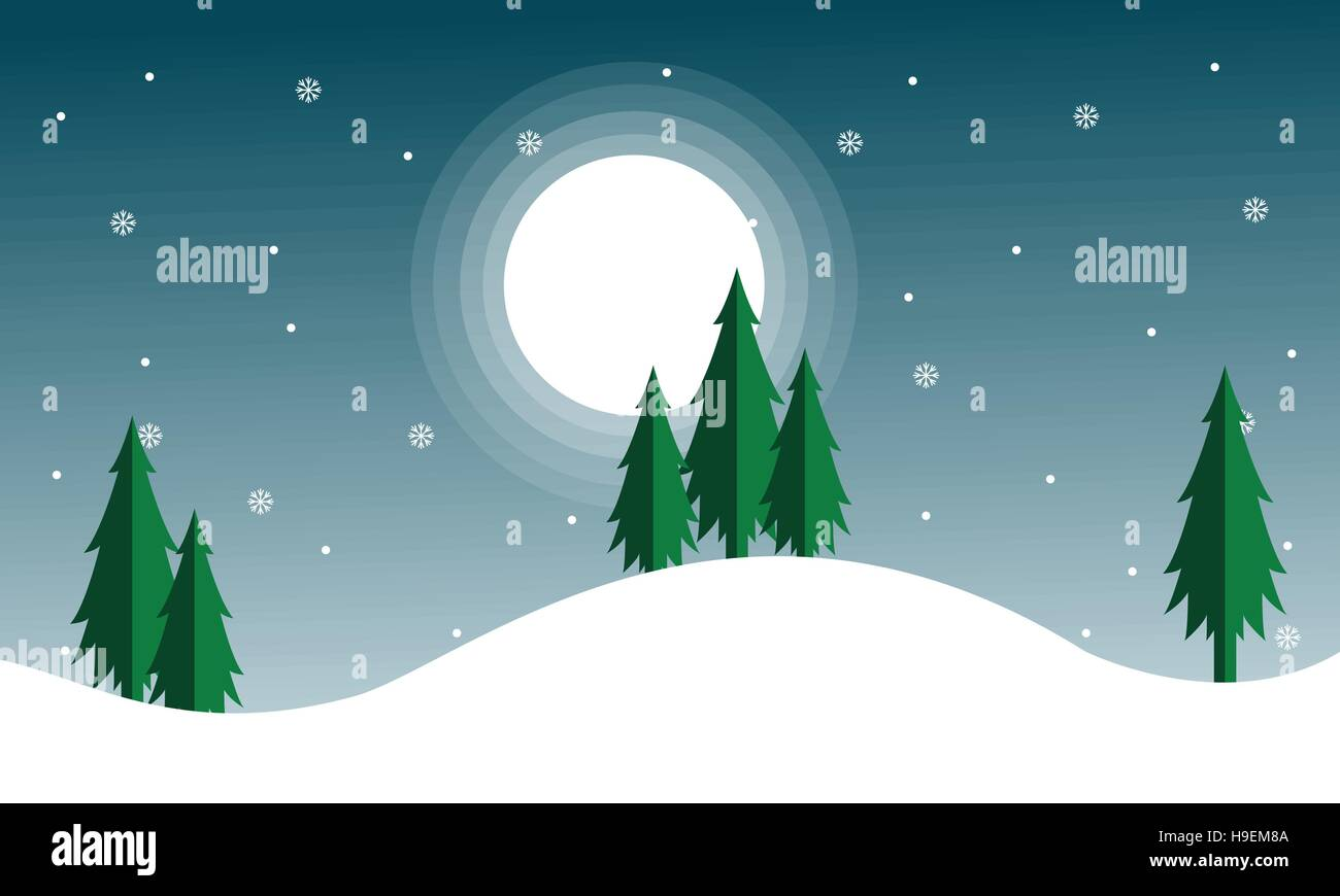 Christmas Scenery With Spruce And Moon Stock Vector Image Art Alamy