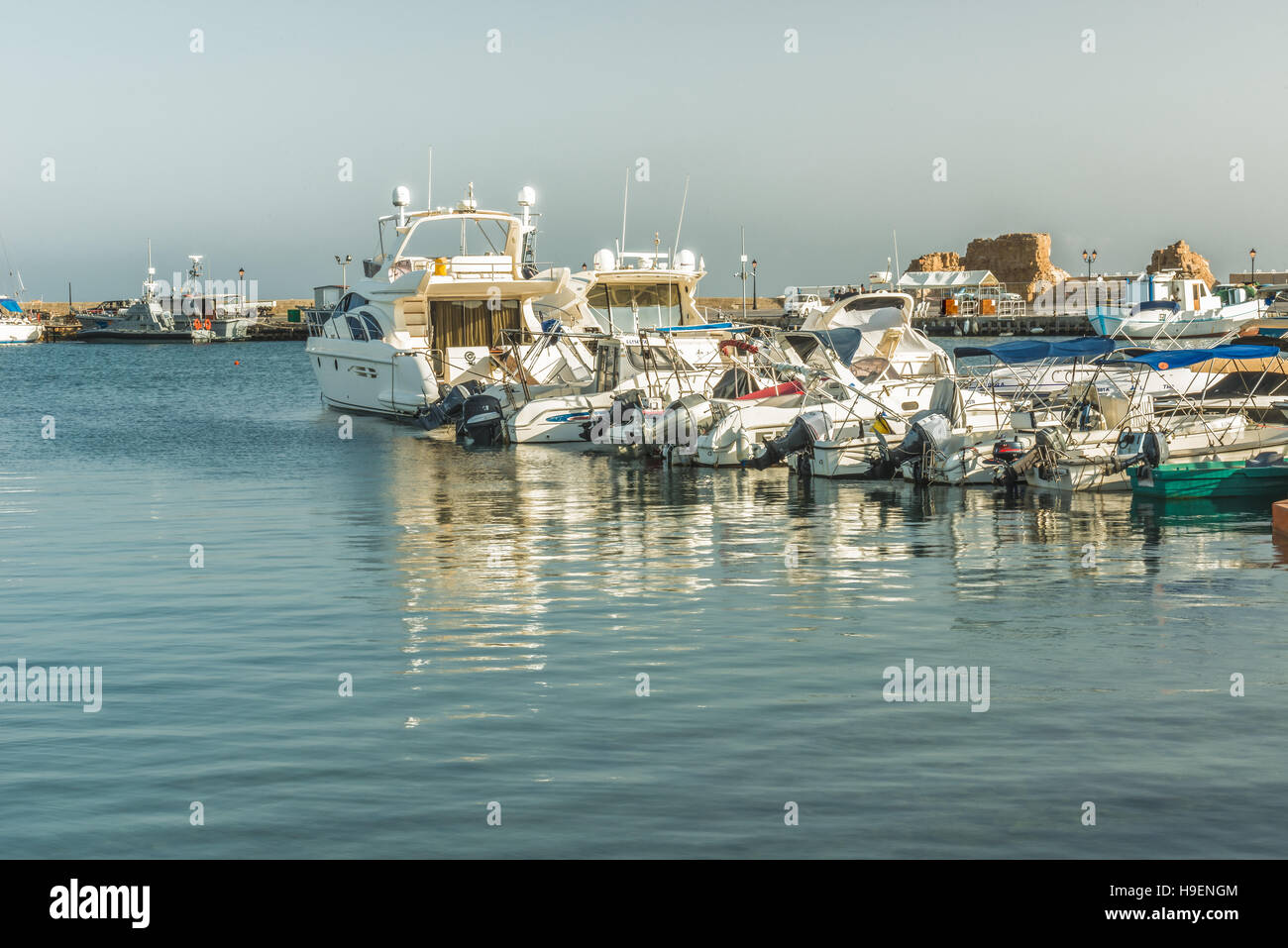 Ships in the Bay of Paphos, Cyprus. - Stock Image