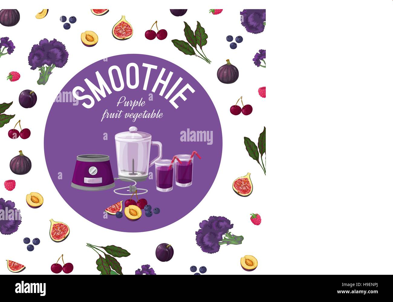 Smoothies. Purple vegetables. Vector illustration made in a realistic style. Stock Vector