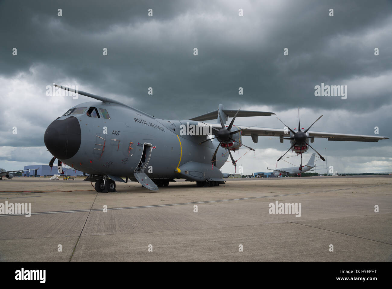 Airbus A400M Atlas transport plane. Royal Airforce military aircraft. - Stock Image