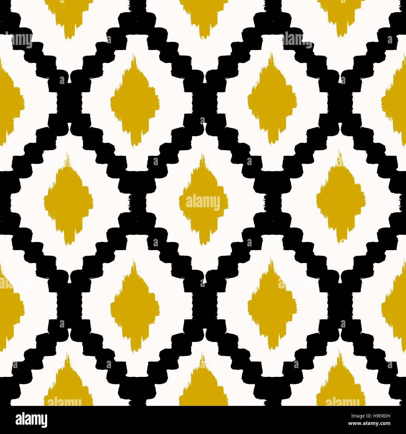 Hand drawn seamless tribal pattern in black, yellow and cream ...