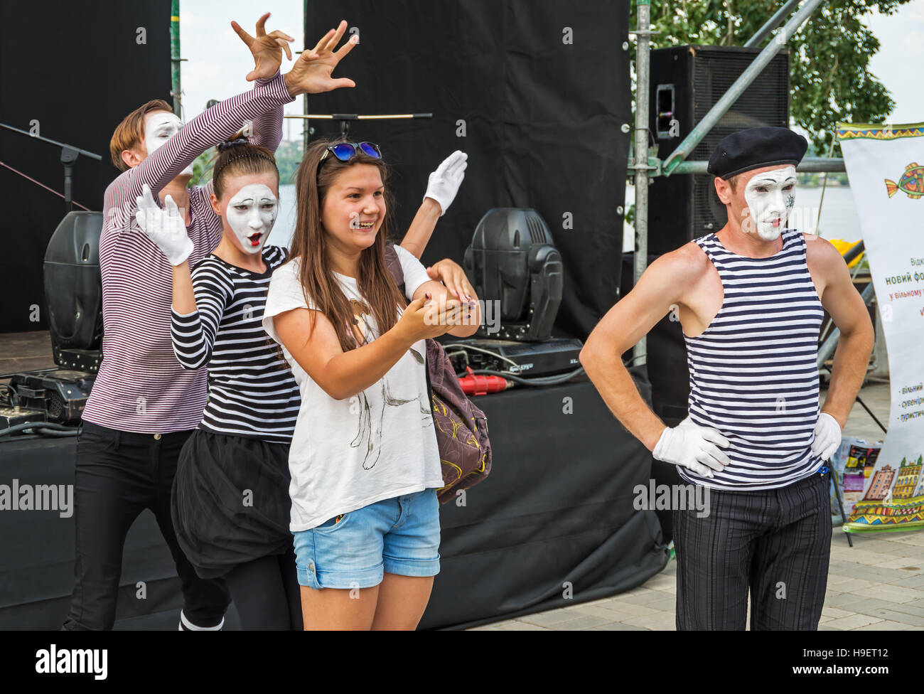 Dnepropetrovsk, Ukraine - June 29, 2013: Performance mime artists at the city festival of street art - Stock Image