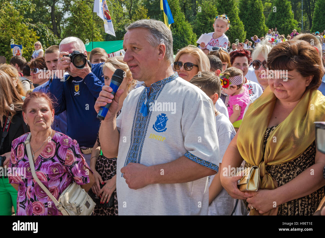 Dnepropetrovsk, Ukraine - September 13, 2014: Dnepropetrovsk Mayor Ivan Kulichenko congratulates residents on the - Stock Image