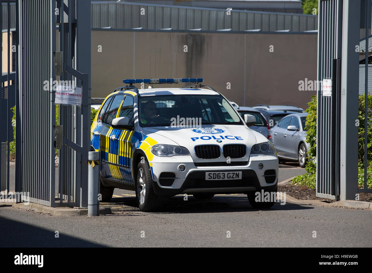 A Police Scotland BMW X5 leaves Livingston Court - Stock Image