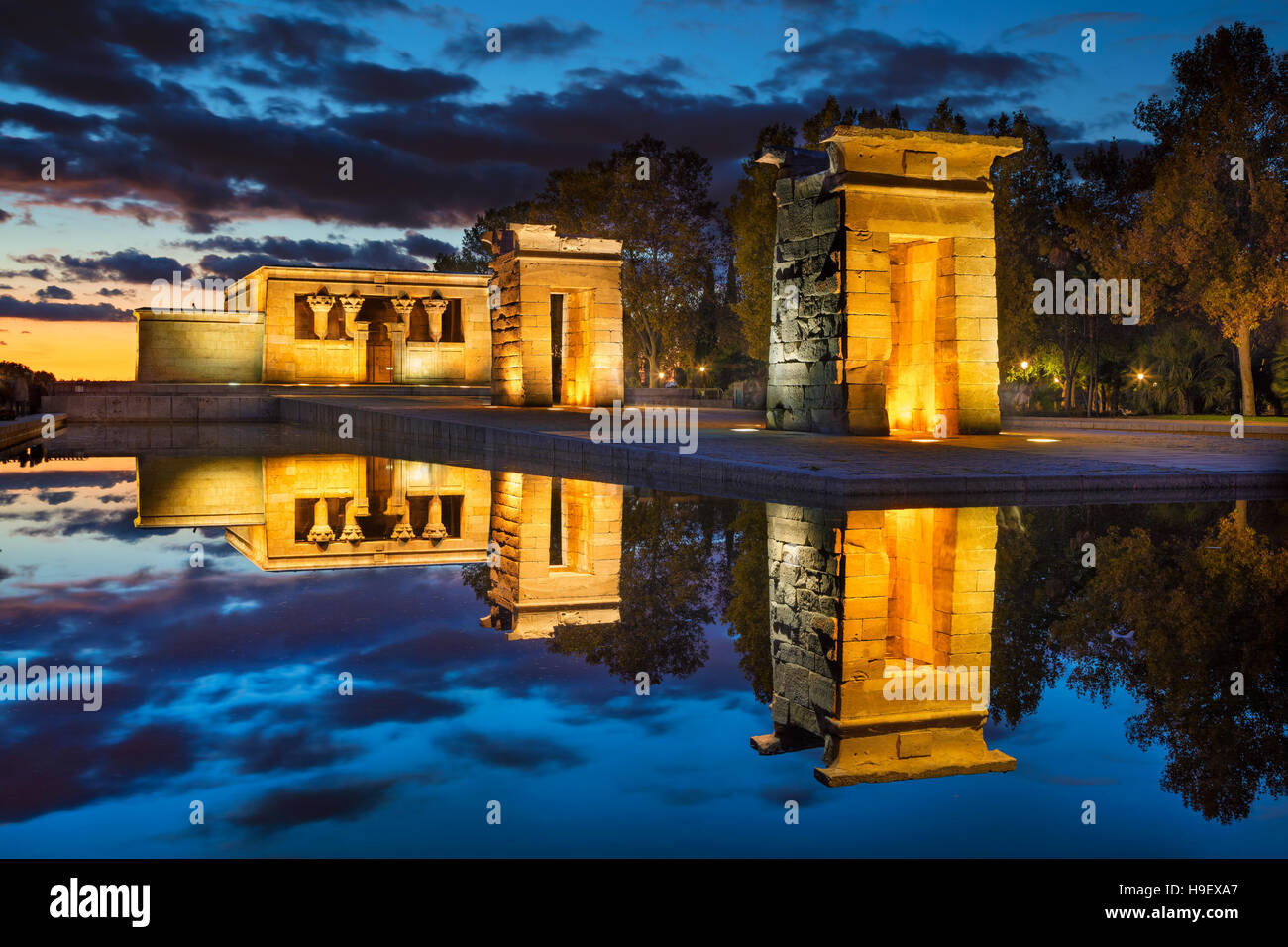 Madrid. Image of Temple of Debod in Madrid , Spain during sunset. Stock Photo