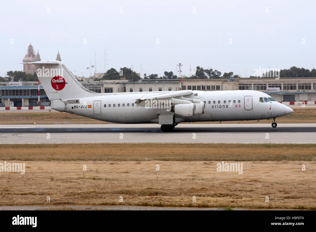 Orionair British Aerospace BAe-146-300 [EC-JVO] landing runway 13. - Stock Image