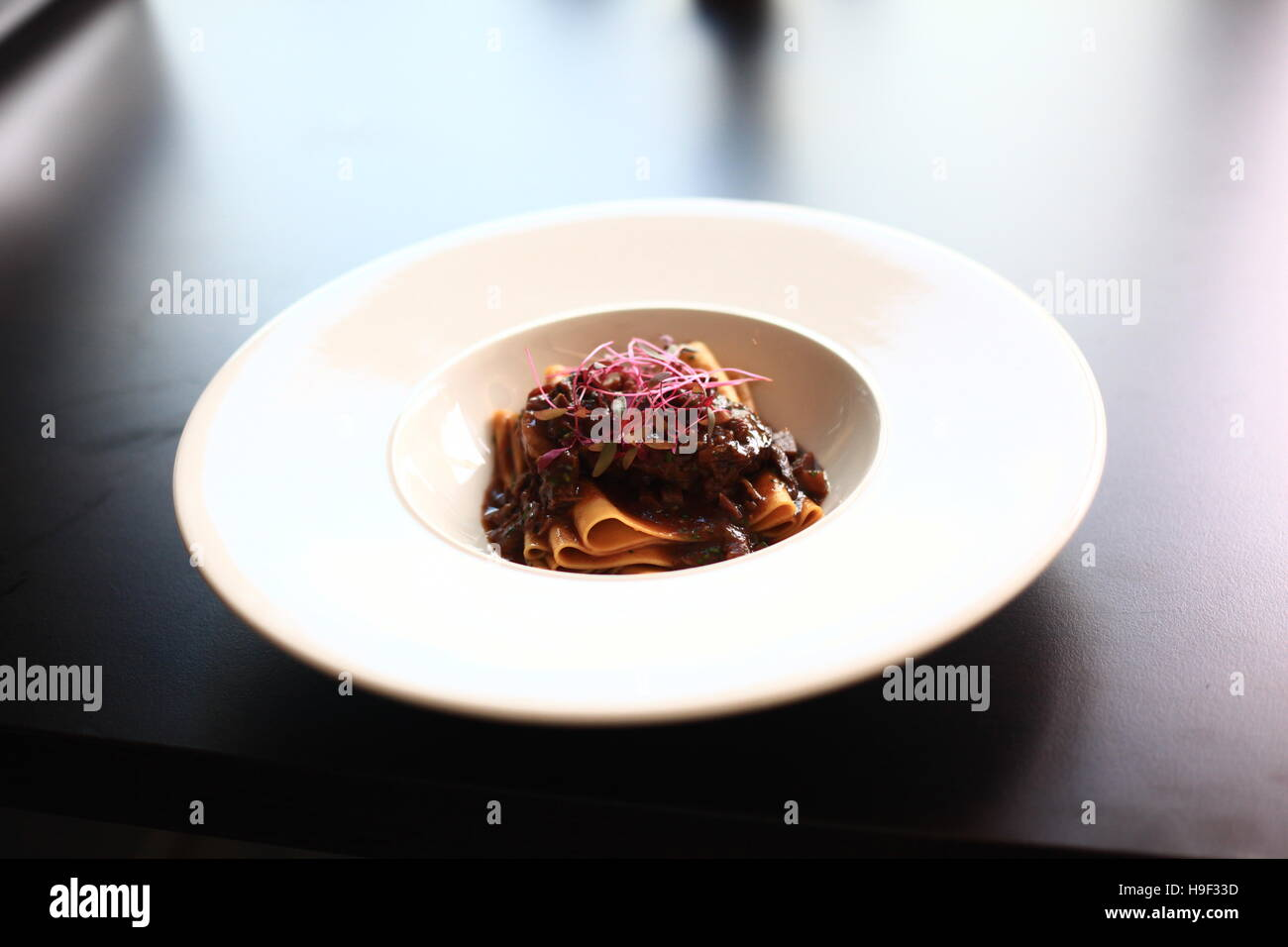 Pappardelle pasta with beef cheeks - Stock Image