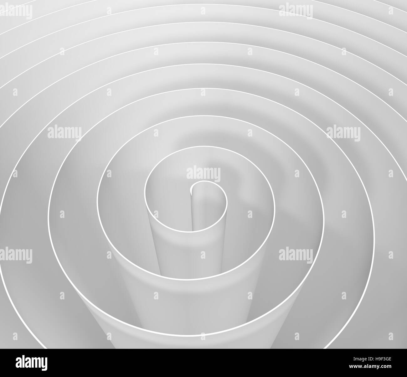 White 3D spiral , digital abstract background pattern - Stock Image
