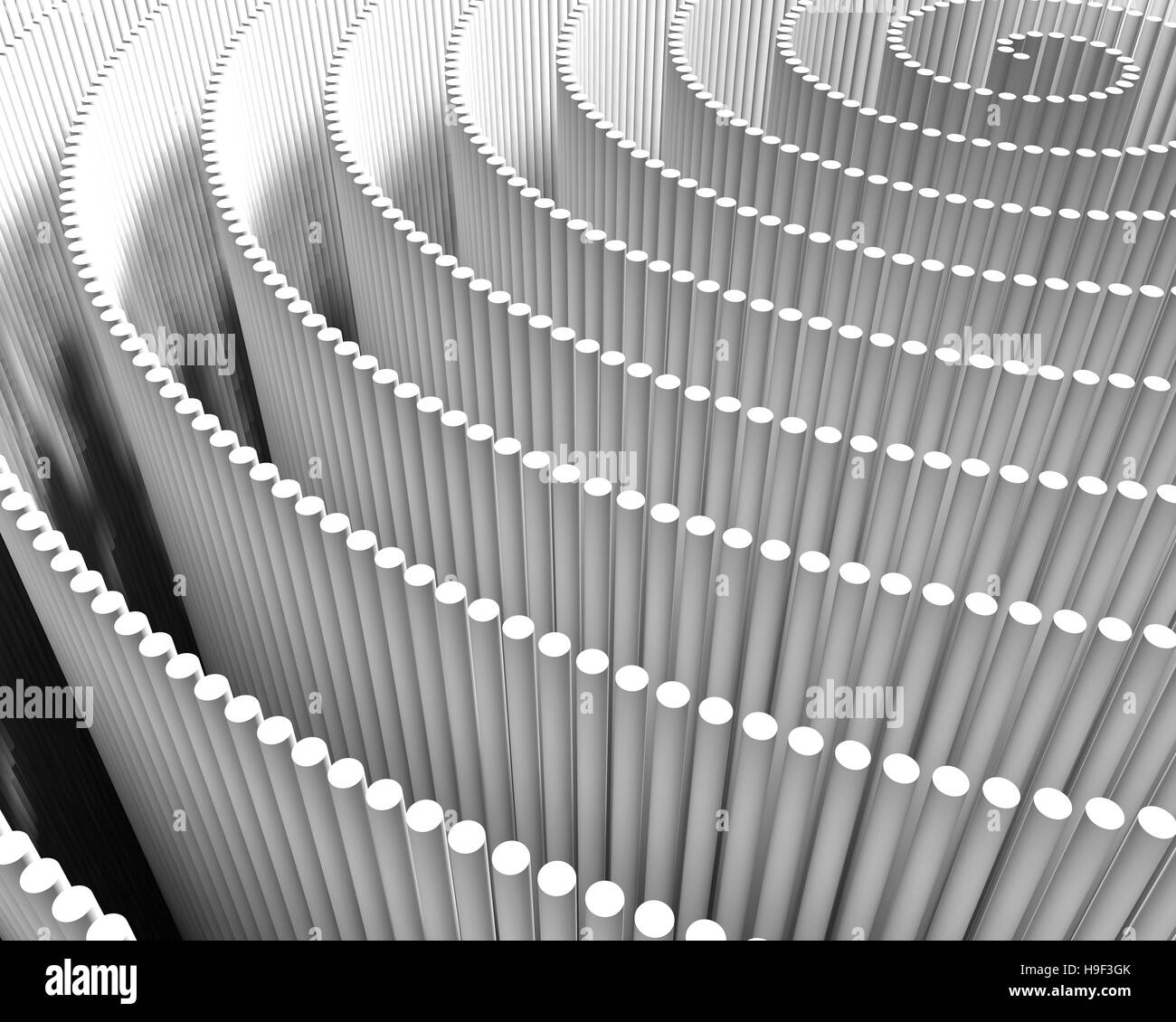 A spiral of white lines, abstract digital background pattern - Stock Image