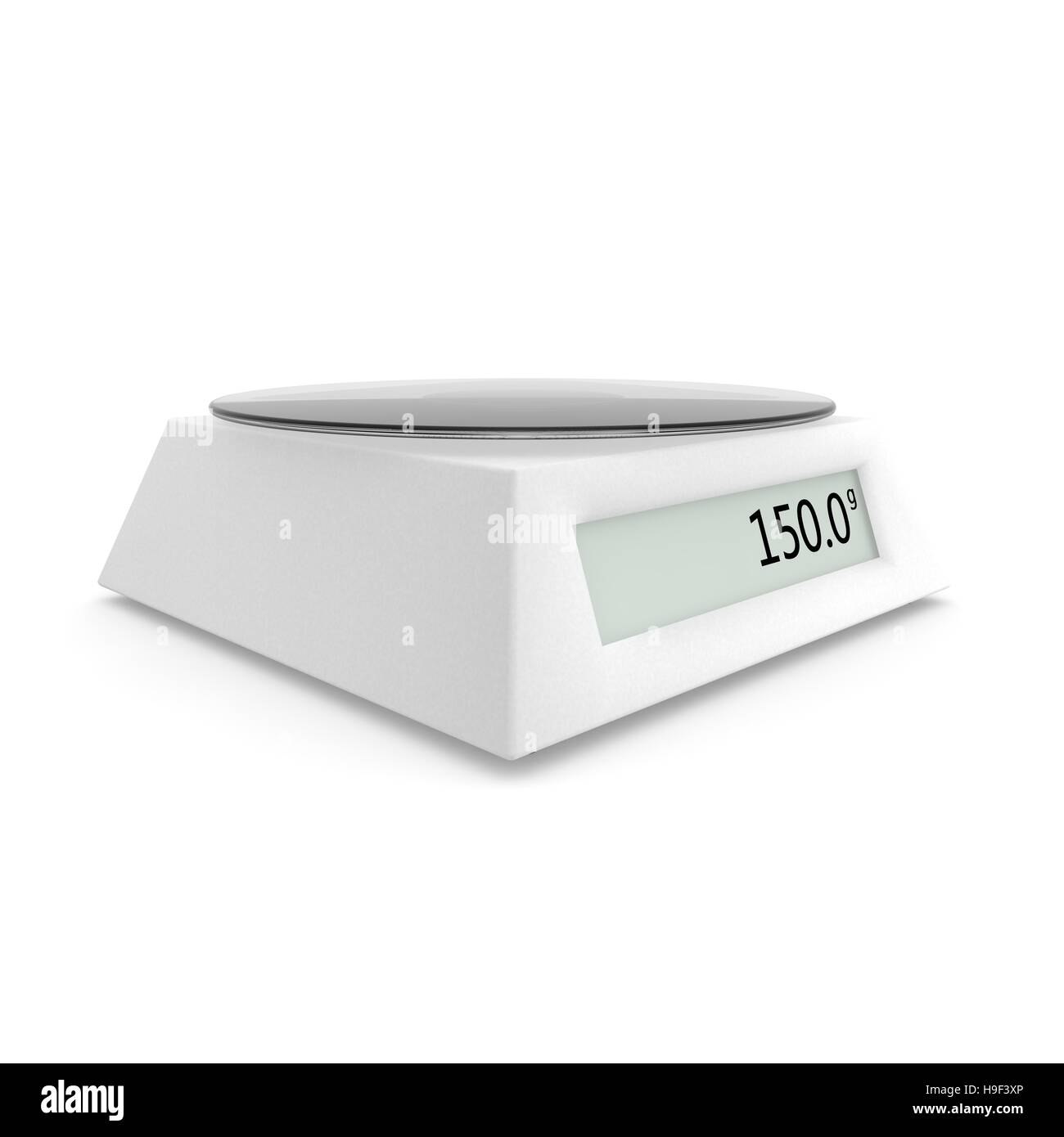 digital kitchen scale show 150 grams isolated white background 3d