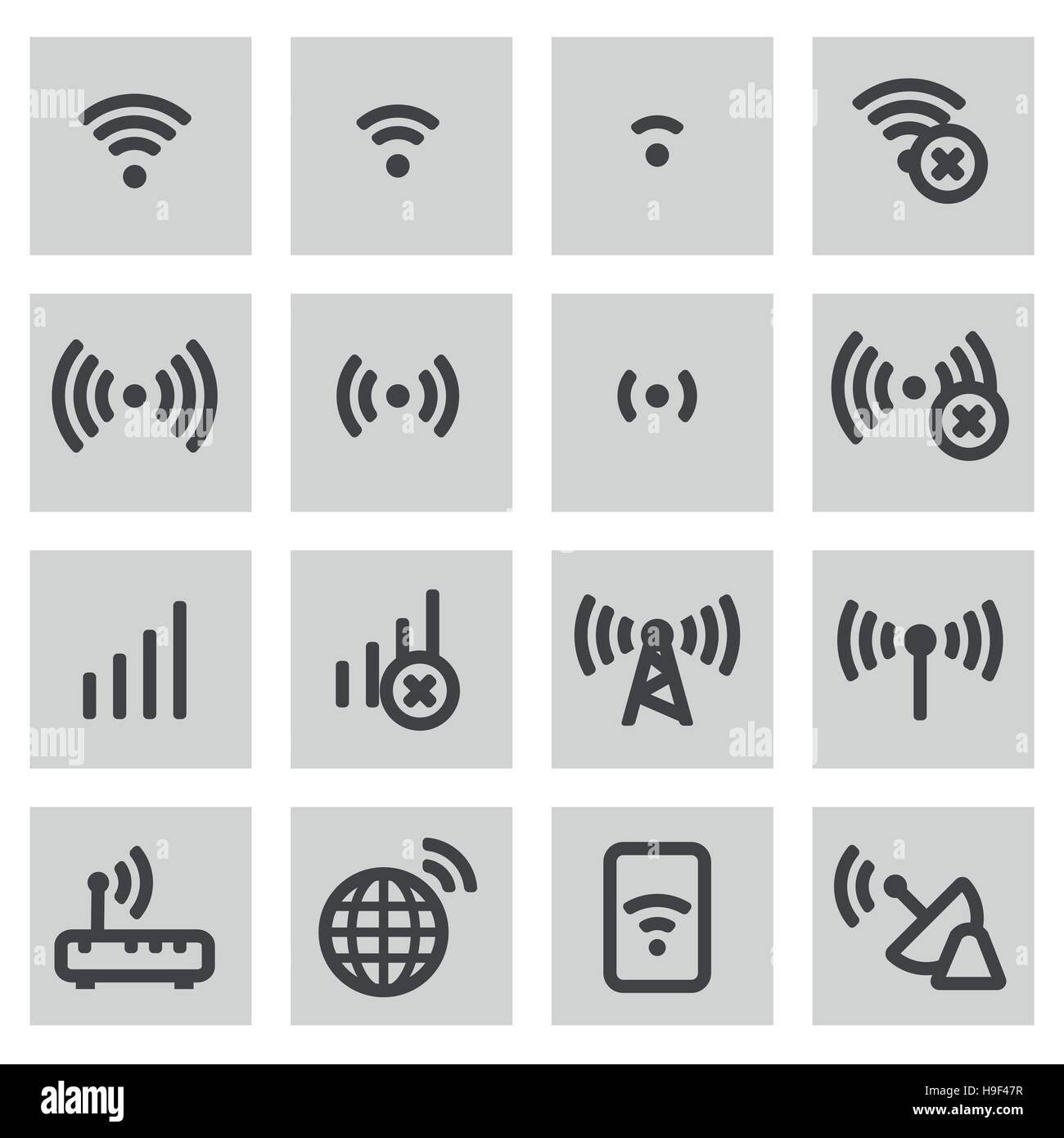 Vector line wireless icons set on grey background - Stock Image