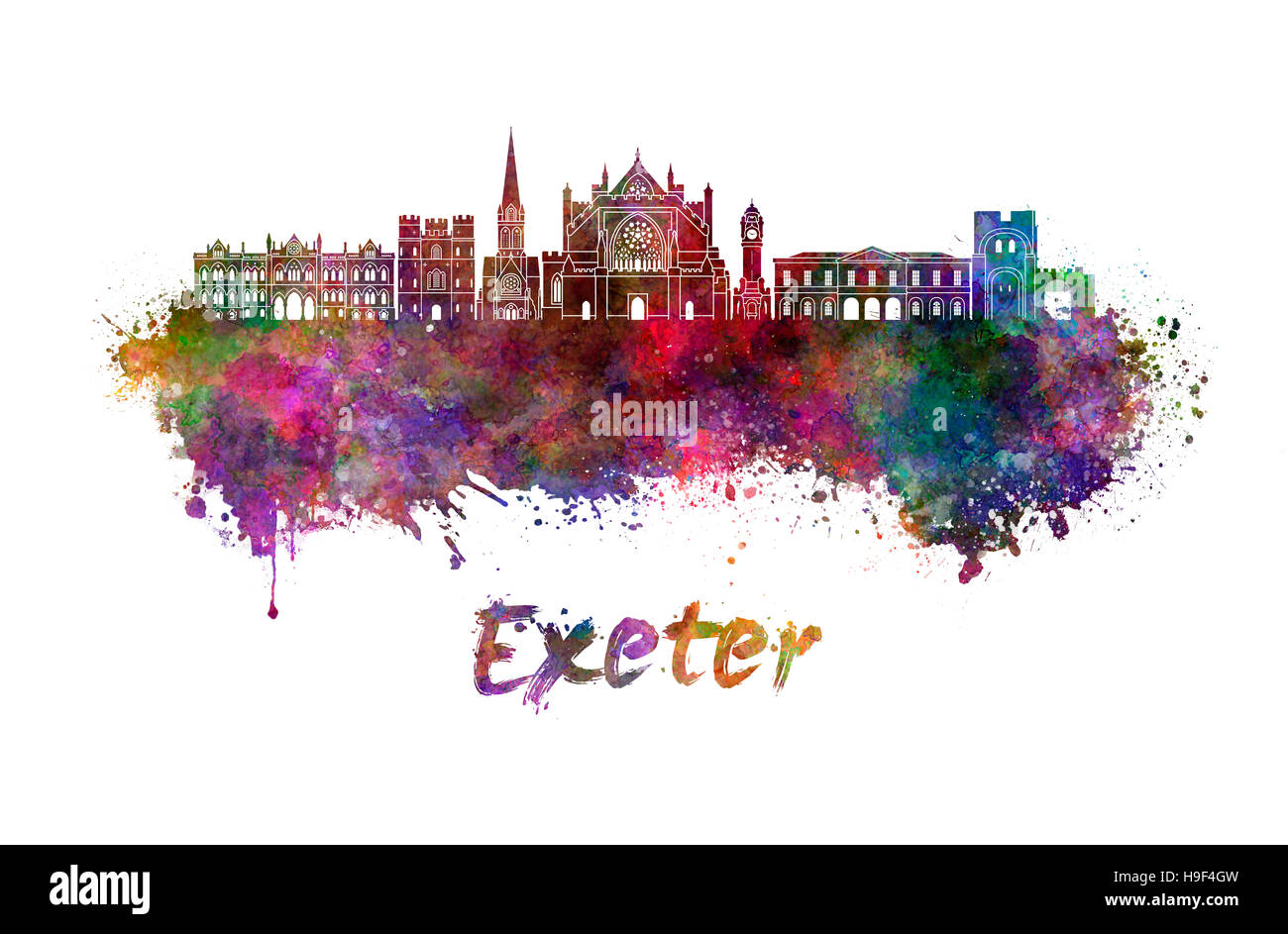 Exeter skyline in watercolor splatters with clipping path - Stock Image