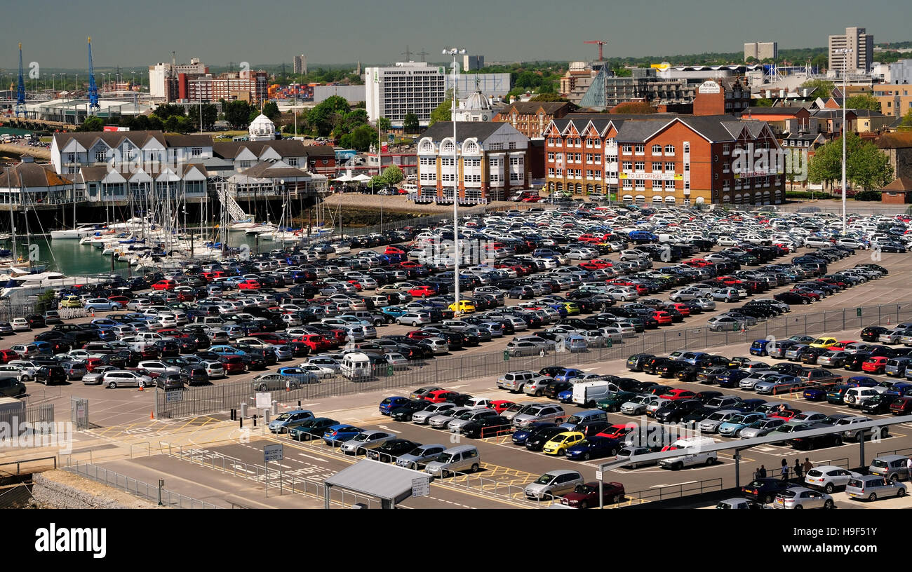 Secure parking beside a cruise terminal in Southampton. - Stock Image