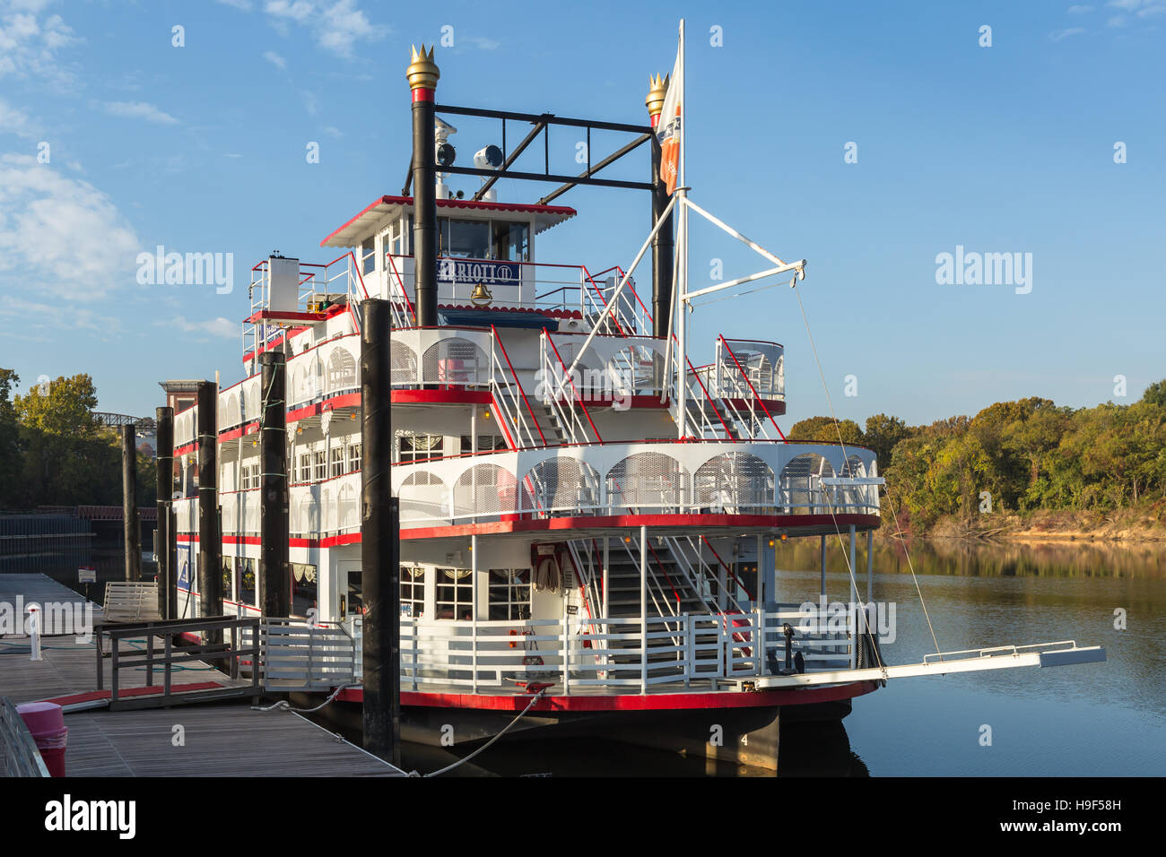 The Harriott II riverboat anchored in Riverfront Park in Montgomery, Alabama. - Stock Image
