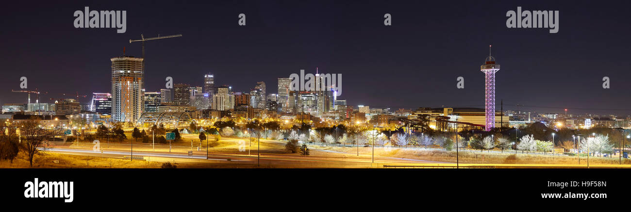 Denver skyline at night panoramic picture, Colorado, USA. - Stock Image